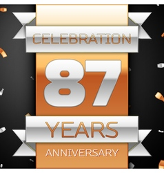 Eighty seven years anniversary celebration golden vector