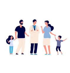 family doctor big healthy family with therapist vector image