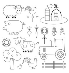 farm digital stamps vector image