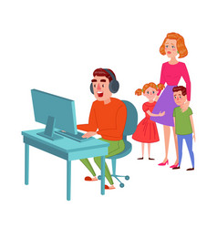 Father playing on video games computer addicted vector