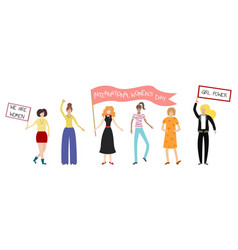 feminist girl power poster international womens vector image