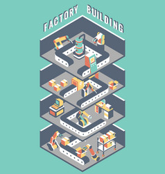 Flat 3d isometric industrial factory in cut vector