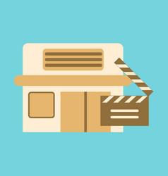 Flat icon building cinema slapstick vector