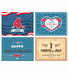 fourth july independence day poster usa flags set vector image