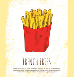 french fries in red package colorful card vector image