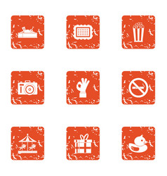Great kid icons set grunge style vector