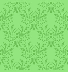 green floral seamless pattern pale green vector image