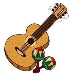 Guitar maracas color of a summer theme vector