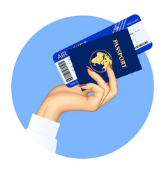 hand of stewardess with passport and air ticket vector image
