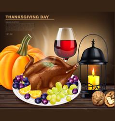 happy thanksgiving turkey menu realistic vector image
