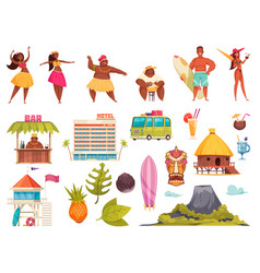 hawaii icon set vector image