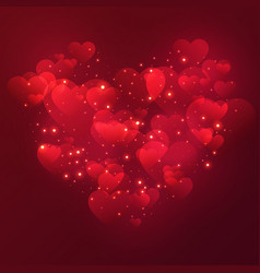 heart valentines day background with shiny hearts vector image