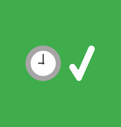 Icon concept of clock with check mark on green vector