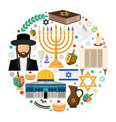 Jewish holiday symbols vector