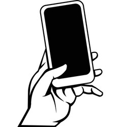 Left hand holding cell phone vector
