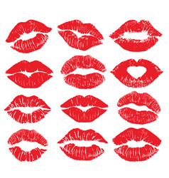 Lipstick kiss print isolated big set red vector
