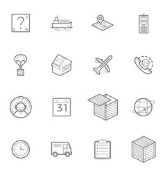 logistics shipping and delivery icon set vector image