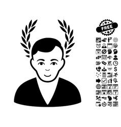 Man Glory Flat Icon With Bonus vector