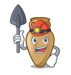 Miner amphora mascot cartoon style vector