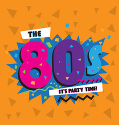 party time 80 s style label vector image