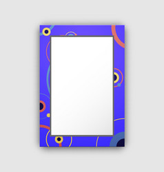 photo frame with blue border and abstract circles vector image