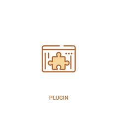 Plugin concept 2 colored icon simple line element vector