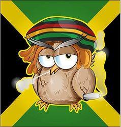 Rastafarian owl cartoon on jamaican flag vector