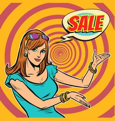 sale pop art woman vector image
