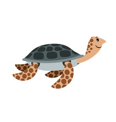 Sea turtle cute cartoon animal vector