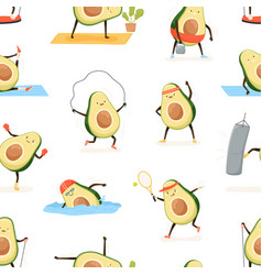 Seamless pattern with cute and funny avocado vector