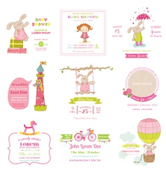 Set bashower and arrival cards vector