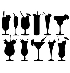 set cocktail glasses vector image
