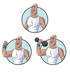 set healthy man athletic muscular vector image