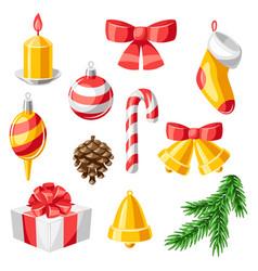 set merry christmas decorative items vector image