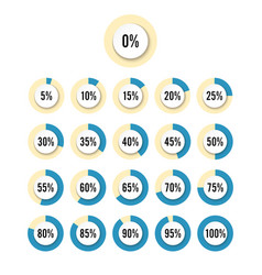set of circle percentage diagrams for vector image