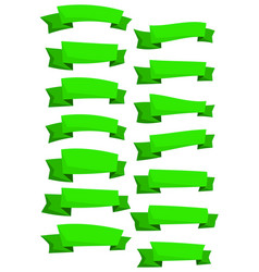 set of green cartoon vector image vector image