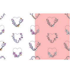 set of hand drawn seamless pattern with hearts vector image
