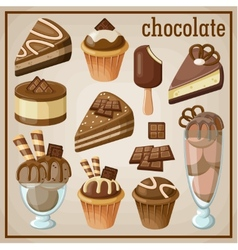Set of sweets and chocolate vector