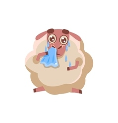 Sheep With The Handkerchief Crying vector image