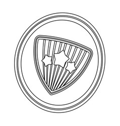 Shield single icon in outline styleshield vector