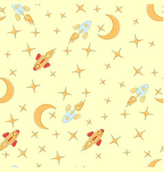 space background seamless pattern rockets moon vector image