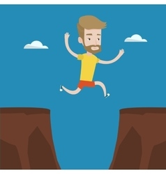 Sportsman jumping over cliff vector