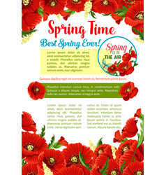 Spring season flower greeting poster template vector