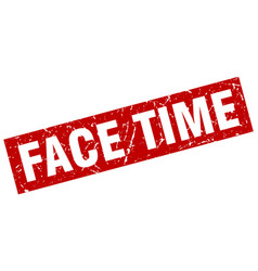 Square grunge red face time stamp vector
