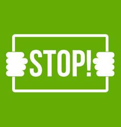 stop icon green vector image