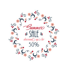summer sale background with flowers ranunculus vector image