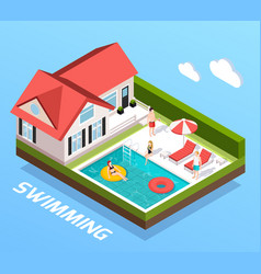 Swimming pool isometric concept vector