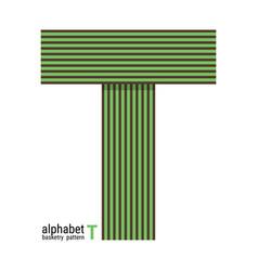 T - unique alphabet design with basketry pattern vector