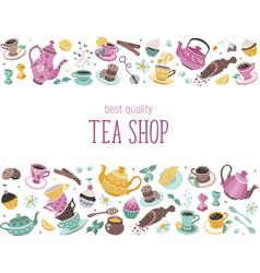 Tea horisontal poster vector