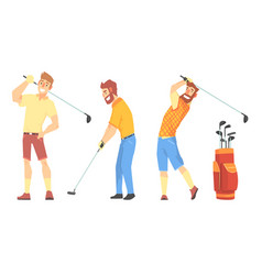 three men characters in sportswear playing golf vector image